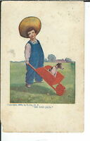 AX-134 - Me and Jack, Artist Signed by Bernhardt Wall, Golden Age Postcard Vntg