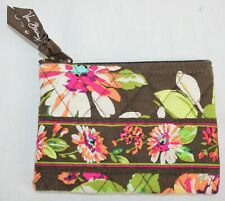 Vera Bradley Coin Purse Zipper Top English Rose Floral Flowers Brown Excellent