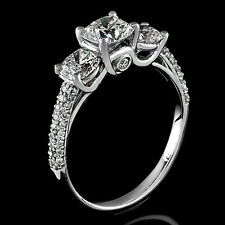 3.75Ct White Cushion Cut Diamond Engagement Antique Ring Certified 14K WhiteGold