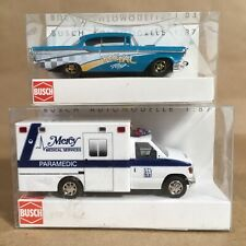 BUSCH 1/87 HO SCALE FORD E350 AMBULANCE & CHEVY BEL AIR COUPE LOT