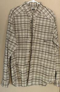 REI Men's Medium Vented Long Sleeve Beige Plaid Button Up Shirt