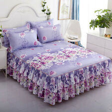 Floral Bed Skirt /Pillowcase Double Dust Ruffle Elegant Bed Sheet Bedspread Hot*