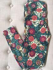 NWT LuLaRoe OS Floral Green Floral Trellis Cream Chevron Leggings One Size