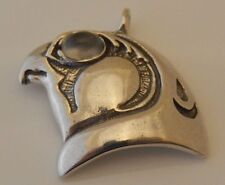 HORUS Pendant Egyptian .925 Sterling Silver - Natural Moonstone FALCON EYE OF RA