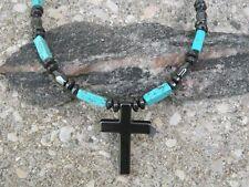 Turquoise Cross Necklace Strong Men's Women's Magnetic Hematite Chalk