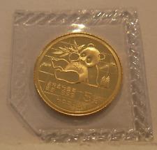 China 1989  Gold 1/20 oz Panda 5 Yuan Original Mint Sealed BU Large Date