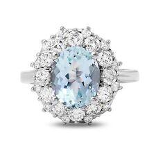 4.02 Carats NATURAL AQUAMARINE and DIAMOND 14K Solid White Gold Ring