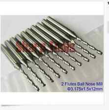 Lot 10pcs double two flute ballnose endmill cnc router bits 1.5mm 12mm Bits