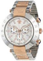 Versace Men's VA8030013 REVE CHRONO Chronograph Silver Dial Two-Tone Steel Watch