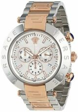 Versace Men's VA8030013 REVE CHRONO Chronograph Silver Dial Two-Tone Steel Watch