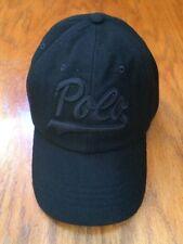 POLO RALPH LAUREN BASEBALL HAT 6 PANEL MELTON BLACK WOOL BLEND LEATHER STRAP CAP