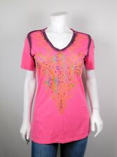 Roar Emellished Bling Embroidered T-Shirt Women's L EE01