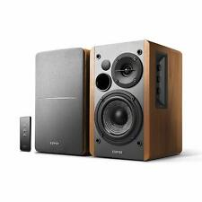 Bookshelf Speaker System Dual RCA Input Brown Wood Design Speakers Active Bass