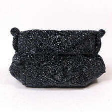 K&G Vintage Paris Charlet New York Black Beaded Evening Handbag Purse w/ Compact