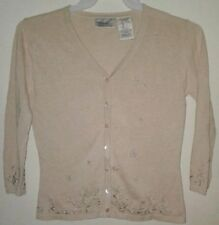 Kathie Lee Beige Tan Button Down Embroidery Cardigan Sweater Women Size S (4/6)