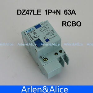 DZ47LE 1P+N 63A C type 230V~ 50HZ/60HZ Residual current Circuit breaker RCBO