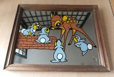 Vintage Disney Bambi and Thumper Mirror Picture Wooden Frame Rare