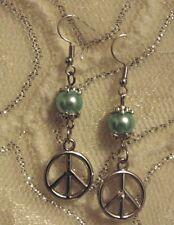 Peace Sign Earrings w/ light Blue Pearl X-mas