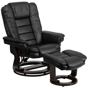 Recliner with Ottoman and Mahogony Wood Base by LeatherSoft