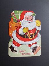 Unused Die Cut Stand Up Xmas Greeting Card Santa Holding Gift Bag full of Gifts