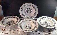Set 4 New England Toile Black White Rimmed Soup Bowls by Tabletops Unlimited