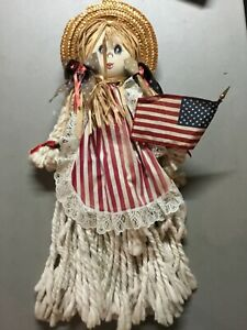 Vintage Patriotic Yarn Doll PERFECT FOR JULY 4TH! HANDCRAFTED WITH CARE & DETAIL