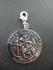 ST CHRISTOPHER TIBETAN SILVER  CLIP ON CHARM 29mm BY 33mm KEY RINGS BAGS