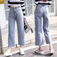 Women Denim Wide Leg Hippie Boho Bell Bottom Hot Jeans High Waist Pants Trousers