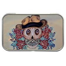 Cowboy Sugar Skull Rectangle Metal Tin Storage Container Stash Box Party Favor
