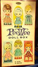 Vtg Whitman Peewee Paper Doll Box & 6 Lil' Girls 1966 Lots Of Clothes Stands.