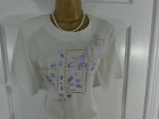 Jacques Vert Cream & Purple Embroidered Top, UK 10 12, Excellent Condition