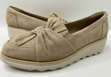Clarks Womens Sz 8 Sharon Dasher Tan Sand Suede Wedge Slip On Shoes EU 39