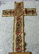 Antique French Silk & Metallic Ecclesiastical Vestment Cross~Hand Embroidered