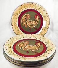 4 Chez Rooster Dinner Plates 222 Fifth Dinnerware Colorful Folk Art Country AA