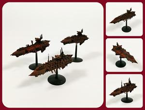 Battlefleet Gothic Space Battles   3 x Chaos Cruiser Class Ships - OOP Painted