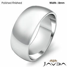 Solid 14k Gold White Dome Mens Wedding Band High Polished Classic Ring 8mm 8.2gm