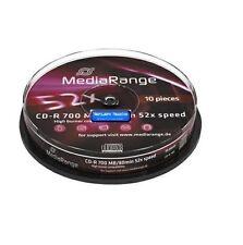 10 MEDIARANGE CD-R 700mb 80min in cake da 10 cdr cd r mr214