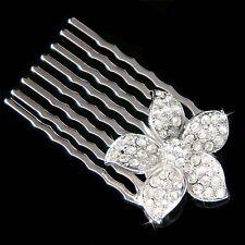 w Swarovski Crystal Plumeria 5 Petal Flower Floral Hair Comb Bridal Head Jewelry