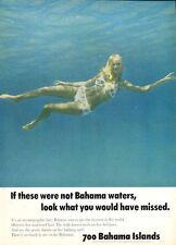 1969 Bahamas PRINT AD 700 Islands Girl in Bikini in Emerald Blue Water