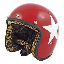 Casco Helmet Jet Bandit Red Rosso Stella Star Bianca White Leopard Moto Tg. M