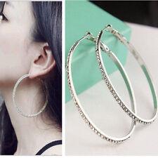 Women Stylish Full Rhinestone Crystal Round Earrings Big Ear Hoop Circle Silver