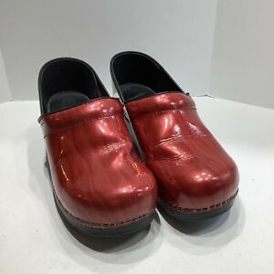Dansko Women's Professional Clogs Shoes Red Patent Leather Slip-On Round Toe 41M