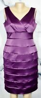 ISABELLA DEMARCO TAHARI LEVINE Purple Sleeveless Tiered Dress 10 Lined Cocktail