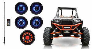 """4) Memphis Audio 6.5"""" Black LED Speakers+10"""" Subwoofer+Whip For RZR/ATV/UTV/Cart"""