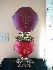 ANTIQUE RARE GWTW RED GLASS PARLOR LAMP, GRAPE DESIGN, CONVERTED 3 WAY, NICE