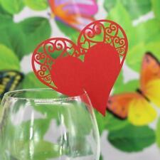 Lot 50 Marque Place Coeur Mariage Carte de Nom Art Déco Verre Table Rouge