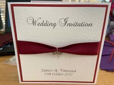 Wedding Invitations - Silver Dragonfly Charm - Burgundy - Side Fold