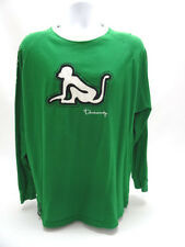 DRUNKNMUNKY MENS LONG SLEEVE GREEN GRAPHICS SHIRT - MENS LARGE - EUC