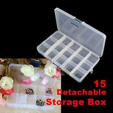 15 Detachable Clear Plastic Divided Storage Box Rhinestone Nail Art Tips NEW