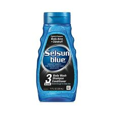 New Selsun Blue Active 3-in-1 Dandruff Body Wash + Shampoo + Conditioner 11 Oz.